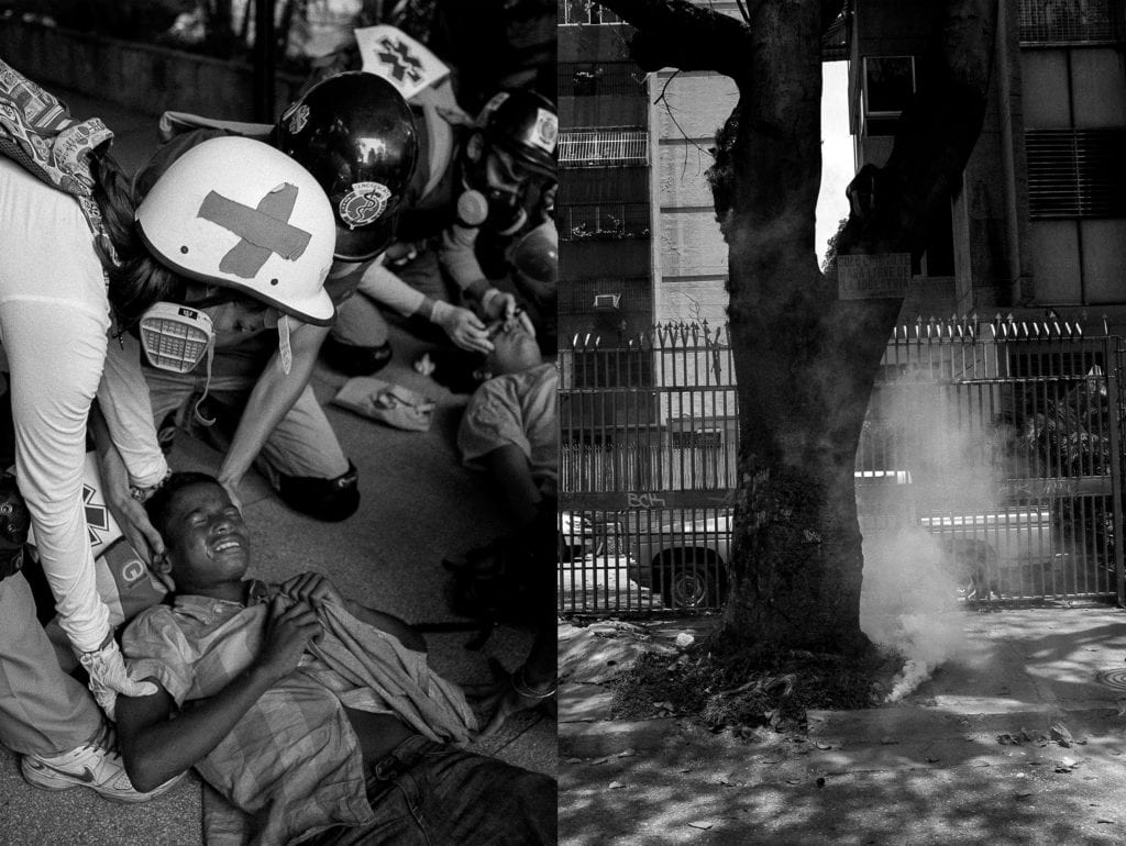Scenes of opposition demonstrations in Caracas in April 2017. From the series Blurred in Despair.