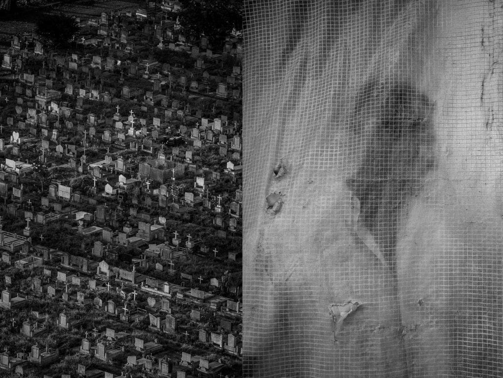 [Left] A cemetery in Portuguesa State, Venezuela. [Right] A farmer stands behind a plastic courtain in Portuguesa State, Venezuela. November 2017. From the series Blurred in Despair.